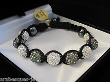 LOVELY GENUINE ARABESQUES JEWELS SHAMBALLA BRACELET GREY/WHITE SWAROVSKI CRYSTAL