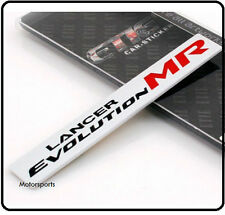 LANCER EVOLUTION IN ALLUMINIO SPAZZOLATO Badge Emblema Mitsubishi Evo Mivec RALLIART 77