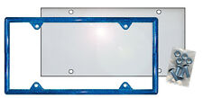 Blue Glitter Plastic License Plate Frame Kit Bling Gifts Ladies Shield Screws