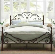 Graceful LeAnn Scroll Bronze Iron Queen Size Bed Frame 4 Poster Furniture Guest