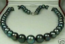 """9-10mm AAA Tahitian Black Round Pearl Necklace 18"""""""
