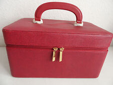 Estee Lauder Hard Train Makeup Case only Red Faux Snake Skin Pebbled Look w/ box