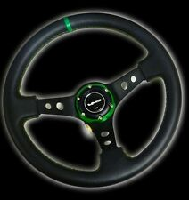 VMS RACING UNIVERSAL 6-BOLT 350MM LEATHER GREEN DEEP DISH STEERING WHEEL