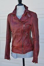 Distressed leather biker style jacket by Muubaa cherry red (Quinn) 6US/10UK/38EU