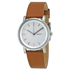 DKNY Soho White Pearlized Dial Light Brown Leather Strap 34mm Ladies Watch