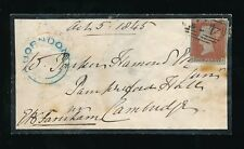 PENNY RED QUORNDON UNDATED CIRCLE in BLUE 1845 to CAMBRIDGE...475 LOUGHBOROUGH