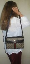 $850. genuine GUCCI Italy SHOULDER PURSE Brown LEATHER & GG Monogram STRIPED