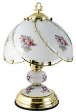 LLOYTRON POLISHED BRASS TOUCH LAMP POLISHED BREASS WITH PORCELAIN TRIM 35cm