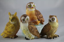 4 POLYRESIN OWL ORNAMENTS, Wonderful Collection, Great Gift for Bird Lovers