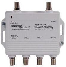 STELLAR LABS 30-2471 CATV/Antenna Drop Amplifier 1x4 Splitter for multiple TVs