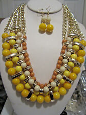 Multi Yellow Lucite Bead Gold Tone Link Chunky Necklace Earring Set