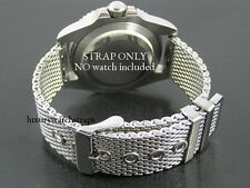 STEEL SHARK MESH WATCH STRAP BRACELET FOR BREITLING NAVITIMER BENTLEY GT 22MM