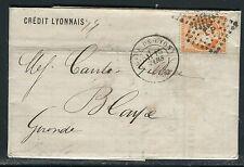 France - lettre de Lyon pour Blaye en 1875 , affr. Cérès 40c   réf F113