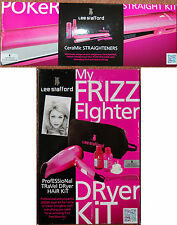 NEW Hot Pink Lee Stafford My Frizz Fighter Hair Dryer Kit & Poker Straighteners
