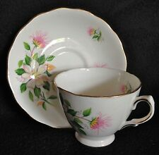 ROYAL VALE Bone China Tea Cup & Saucer, White Flower Gold Trim Ridgway Potteries