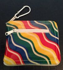 Vintage Avon Tote Bag~Zips Into Small Multicolor Case With Carabiner Hook