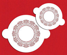 Doily Circle Cake Top Cupcake Stencil Flexible Craft Cookie Stencils 2 Piece Set