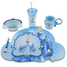 Disney Store Cinderella Meal Time Cup Placemat Plate Bowl Flatware 7 Pcs Set NEW
