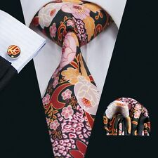 SN-1293 Mens Printing Ties Colorful Silk Necktie Cufflinks and hanky for Wedding