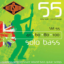 Rotosound SM55 Solo Bass Guitar Strings Stainless Steel Pressure wound 40-100