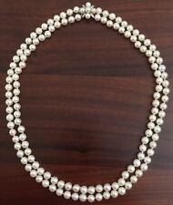 Vintage Estate 14k Diamond Double Strand Pearl Necklace 23""
