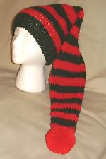 Handmade Christmas Elf Knit Hat/beanie - red & green striped, extra long -child