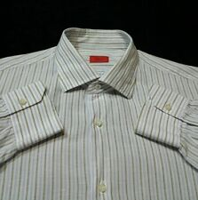 ISAIA Napoli  Dress Shirt 17 1-2 (44 )XL Made in Italy of Cotton & Linen