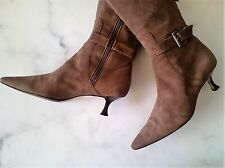 MANOLO BLAHNIK 6.5 M Brown Suede Buckle Strap Detail Knee High Boots Italy