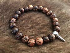 Men's Bead Wood Bracelet with Sliver Spike