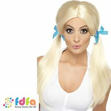 BLONDE SASSY SCHOOLGIRL LONG PIGTAILS WIG ladies womens fancy dress costume