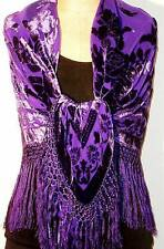 Silk Piano Shawl Wrap Scarf Burnout Velvet Purple