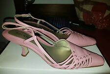 Women's Pink Leather Roland Cartier shoes Size 37 with matching clutch bag