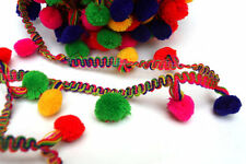Indian Multicolour balls Trim Lace Ethnic Ribbon Craft Dupatta Border 25 Meter