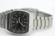 Vintage Seiko Automatic Day Date Stainless Steel Mens Watch Black Dial