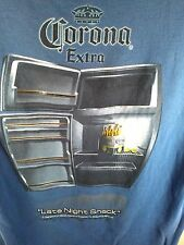 L blue gray T Shirt FUNNY! Corona Extra BEER fridge LATE NIGHT SNACK 2006 party