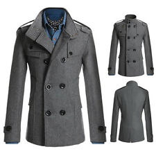 Fashion Coat Double Breasted Peacoat Long Men Jacket Winter Dress Top M-2XL New
