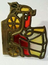 Enesco Candle Holder Brass & Stained Glass Car Tea Light Size