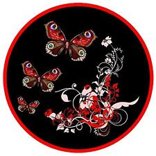 RED / BLACK FLOWERS & BUTTERFLY - FUN CAR TAX DISC HOLDER - BRAND NEW -  GIFT
