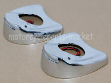 Chrome Lighted Mirrors White LED Cover Caps For Harley Electra Glide 1996-2013