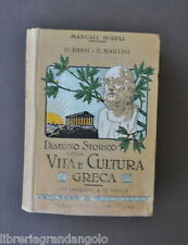 Manuali Hoepli Storia Grecia Bassi Martini Disegno Vita Cultura Greca 1910