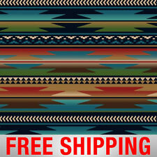 """Native American Fleece Fabric Sunset Stripes Blue 38873-1 60"""" Wide Free Shipping"""