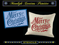 Primitive Stencil~MERRY CHRISTMAS WISHES~Victorian Era Style Classic Old Fashion