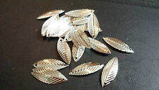 50 SILVER-PLATED LEAF CHARMS-Nickel/lead free