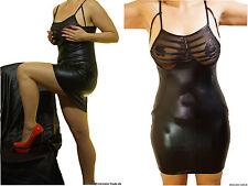 deluxe shiny Wetlook Kleid Brust transparent schwarz Clubwear, S/M 36/38