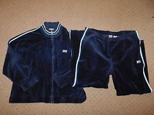 VINTAGE 80'S FILA VELOUR TRACK SUIT WARM UP JACKET PANTS SET BLUE MENS XL BORG