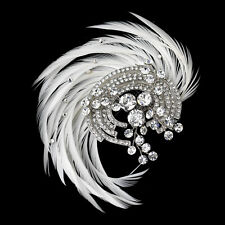 Antique 20's Style Great Gatsby Silver Crystal & Ivory Feather Bridal Hair Clip