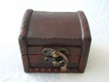 Small Colonial Style Wooden Gift or Trinket Box Leather Top.