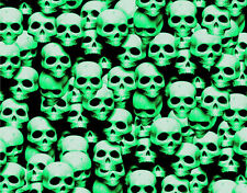 "1 LARGE STICKER BOMB SHEET GREEN SKULLS JDM HONDA DECAL 24"" x 48"" 3M WRAP VINYL"