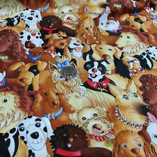 Timeless Treasures Fabric dog cotton twill textiles upholstery quilts doll cover
