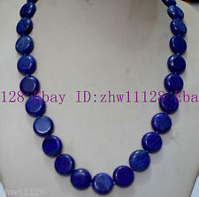New 12mm Blue Egyptian Lapis Lazuli Coin Gemstne Necklace 18'' AAA